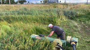 Mäharbeiten mit Mulcher im Regenrückhaltebecken